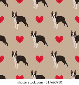 Dog boston terrier seamless pattern colorful with hearts