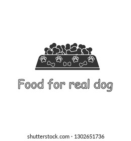 Dog bowl filled with bones. Vector illustration. natural product, Canned, dry food. Logo, Background.