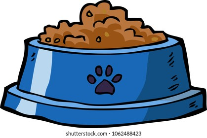 Dog bowl with food on a white background vector illustration