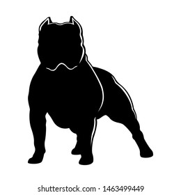 Dog breed American bully. Dog silhouette isolated on white background.