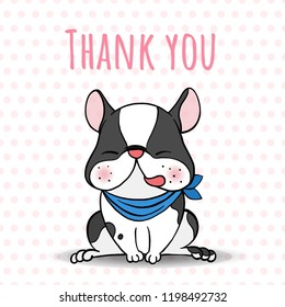 """Dog breed boston terrier sitting with lettering"""" THANK YOU"""" isolated on white background.Cartoon doodle style.Vector illustration."""