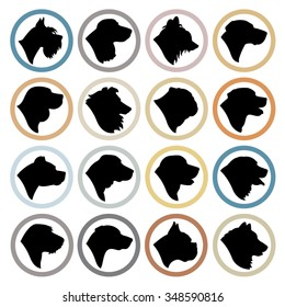 Dog Breed Circle Badges - Purebred dog head silhouette set