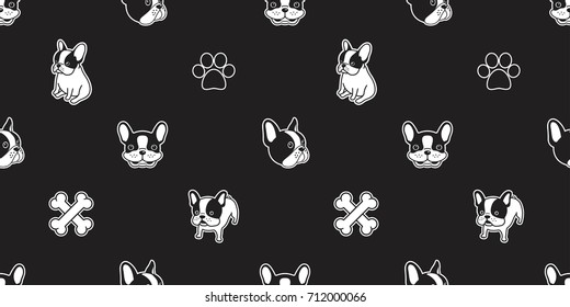 dog breed french bulldog bone dog paw foot print seamless pattern vector wallpaper background