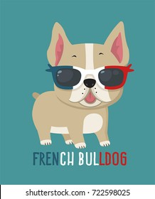 Dog breed French Bulldog. Puppy wearing glasses in the colors of the French flag.