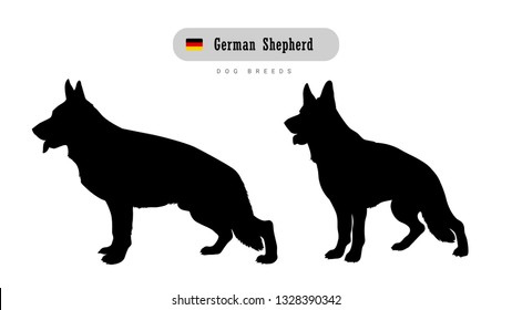 Dog breed German Shepherd. Side and front view silhouettes isolated on white background.