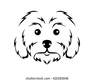 Dog Breed Line Art Logo - Maltese