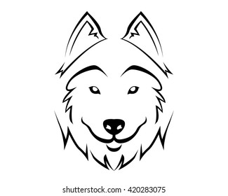 Dog Breed Line Art Logo - Siberian Husky