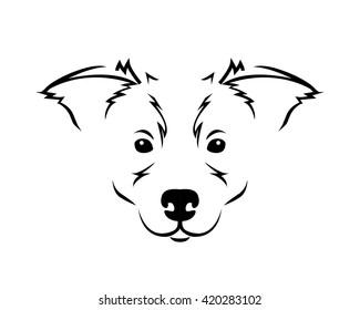 Dog Breed Line Art Logo - Border Collie