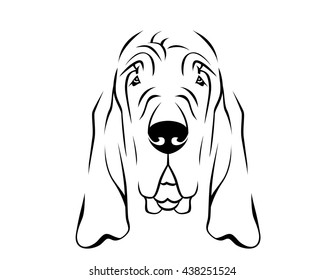 Dog Breed Line Art Logo - Bloodhound