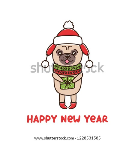 Dog Breed Pug Hat Scarf Holding Stock Vector (Royalty Free ... e5856d85e08