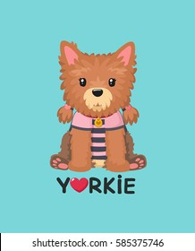 Dog breed Yorkshire Terrier. Girl Yorkie Puppy in a striped shirt and a collar with a medallion. Text: Love Yorkie