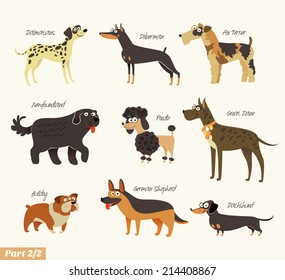 Dog breeds. Dalmatians, Bulldog, Newfoundland, Doberman, Great Dane, Fox Terrier, Poodle, Dachshund, German Shepherd. Funny cartoon character. Vector illustration. Isolated on white background. Set 2