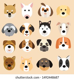 Dog Breeds Icons Illustration.set of Dog Breeds on  isolated.
