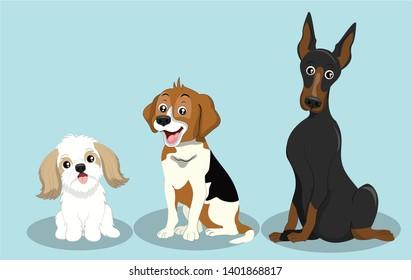 Dog Breeds Illustration, Maltese, Beagle, And Great Dane Dog