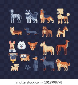 Dog breeds set. Flat pixel art 80s style icons. Stickers and embroidery design. Game assets. Logo design template for pet shops, mobile applications. Isolated vector illustration.