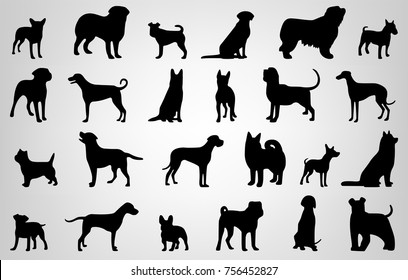 Dog breeds silhouettes. Dog icons collection. Chinese zodiac 2018. Vector