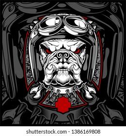 Dog, bulldog wearing a motorcycle, aero helmet. Hand drawn image for tattoo, t-shirt, emblem, badge, logo, patch. - Vector