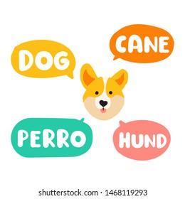 Dog, cane, perro, hund. Translation concept. Hand drawn vector icon illustrations on white background.