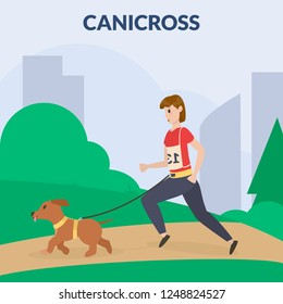 Dog canicross. A woman training dog. Cynology. Flat vector illustration