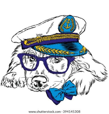 505a4335 Dog Captains Cap Cute Puppy Vector Stock Vector (Royalty Free ...