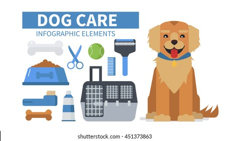 Dog care infographic elements. Vector illustration.