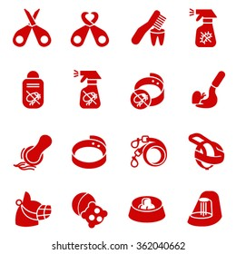 Dog care items as glyph icons, set two / There are some dog and cat care items like scissors, toothbrush, toys and breast-band
