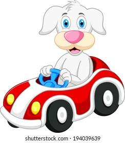 Dog cartoon driving car