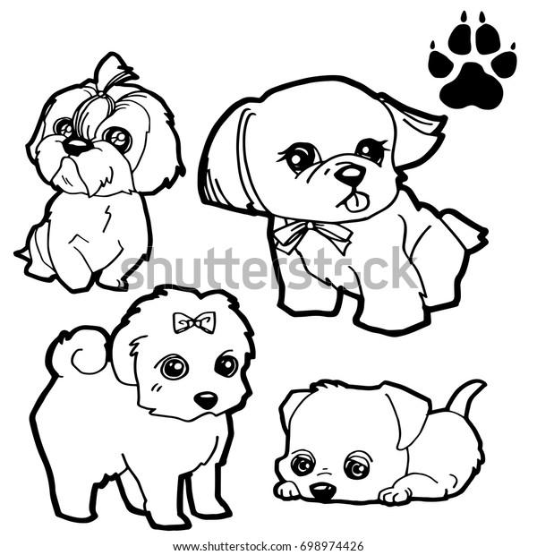 Dog Cartoon Dog Paw Print Coloring Stock Vector Royalty Free