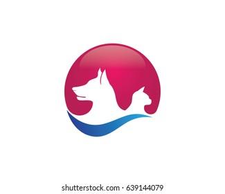 Dog and cat animal logo