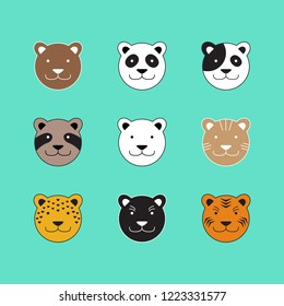 Dog Cat Bear Tiger Animal Head Vector and Icon
