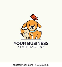 Dog Cat Bird Pet shop vector logo template