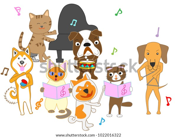 Dog Cat Concert Dogs Cats Sing Stock Vector Royalty Free 1022016322