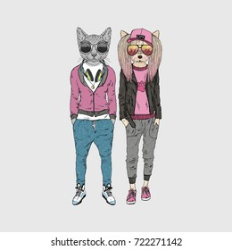 dog and cat couple dressed up in urban style, furry art illustration, fashion animals