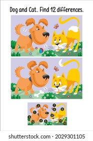 Dog and Cat. Find 12 Differences. Game for children. Activity, vector.