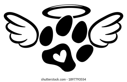 Dog or cat footprint angel with wings, gloria, bone and footprints, paws. - Hand drawn positive tattoo. Modern brush design. Memory ink. Love your dog. Inspirational vector graphic.