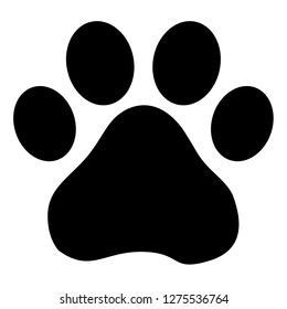 Dog or cat footprint vector icon for animal apps and websites isolated on white background.