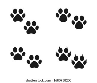 Dog or cat footprint vector icon illustration, animal f paw print isolated on white background