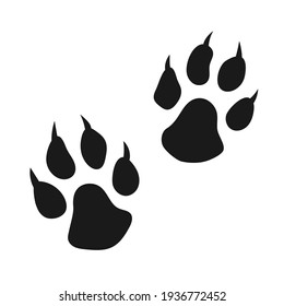 Dog or cat hand drawn clawed paw print isolated on white background.
