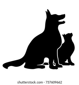 Dog and cat, happily sitting side by side, silhouette vector illustration
