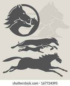 Dog, cat and horse silhouettes, veterinary badge