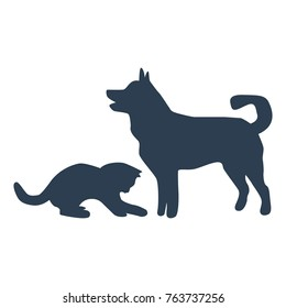 Dog and cat icon on white background. Vector illustration
