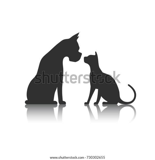 Dog Cat Icon Silhouette Stock Vector Royalty Free 730302655