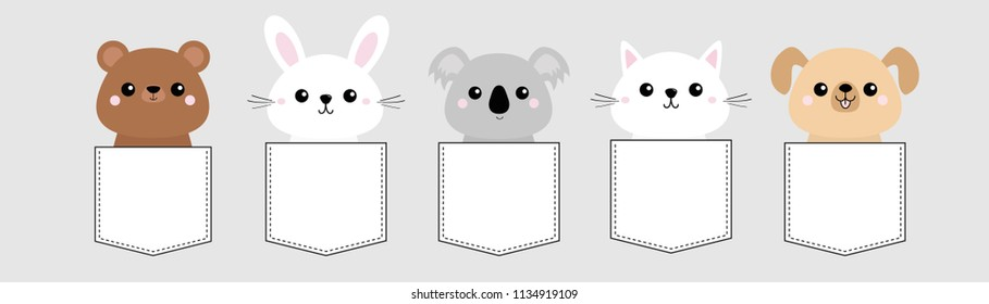 Dog, cat kitten, bear, rabbit, hare, grizzly, koala head face pocket set. Pink cheeks. Cute cartoon character. T-shirt design. Pet animal collection Baby background. Flat design Vector illustration