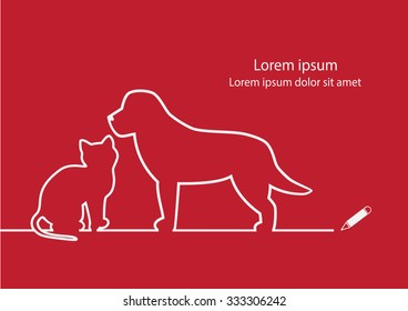 Dog and cat line design vector.