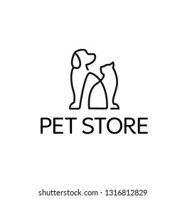 Dog and Cat logo design template. Graphic sitting puppy logotype, sign and symbol. Pet silhouette label illustration isolated on background. Modern animal badge for veterinary clinic pet food - Vector