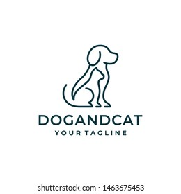 Dog and cat logo design vector.