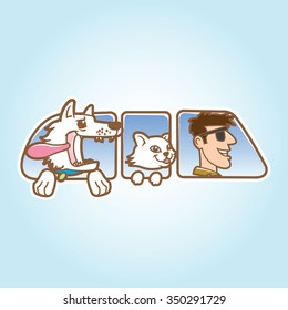 Dog ,cat and man in car window