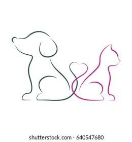 Dog and cat minimalist vector illustration brush strokes