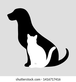 dog with a cat on a gray background