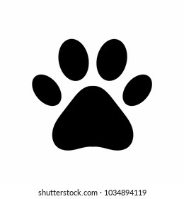 Dog or cat paw. Black paw print isolated on white background. Vector